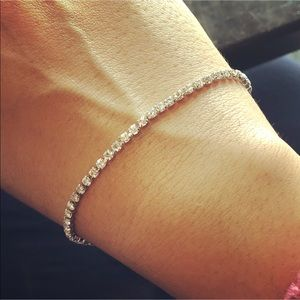 Silver Chain Bracelet With Cubic Zirconia Tennis